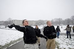Join the Corps of Cadets vs. civilians snowball fight on the Drillfield. It happens the evening of the first snowfall of each year.