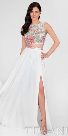 Two Piece Illusion Floral A-line Prom Dress by Terani Couture