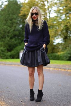 Big leather skirt + chunky knit