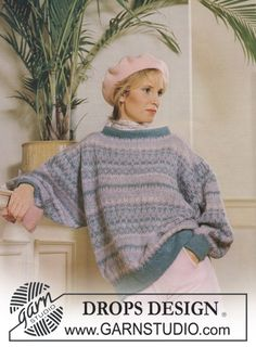 DROPS mønstret sweater i Toscana i pastelfarver. Sweater Knitting Patterns, Free Knitting, Color Patterns, Print Patterns, Pull Jacquard, Sewing Sleeves, Magazine Drops, Rose Sweater, Cast Off