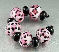 Pink Leopard Handmade Lampwork Glass Beads by Lori by LoriBergmann