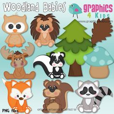 Woodland babies Animals Digital Clipart  Clip art by Graphics4kids