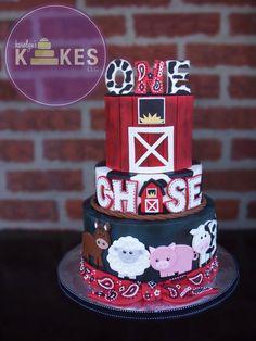 Farm / Barnyard Animal KAKE! Cakes are iced in buttercream.  Barn, name, horse, sheep, cow, pig, bandana and topper are all Marshmallow Fondant.
