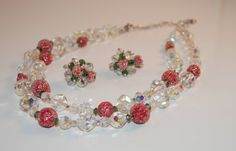 Vendome Sugar Bead and Crystal Necklace and Earrings