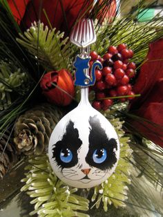 Hand Painted Spoon Christmas Ornament by YewtinselsNSilver on Etsy #14