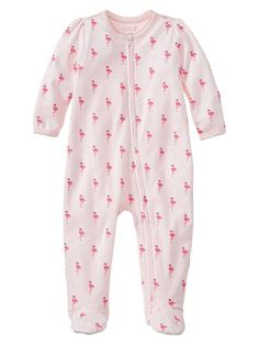 Flamingo print footed one-piece Product Image