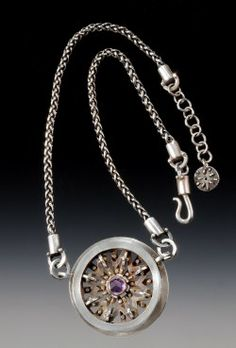 """Susan Breen Silvy Kansas City, MO Industrial Chic 2 ¼"""" diameter Fine silver metal clay, dry construction, sandblasted stacked interior plates, amethyst, sterling silver chain"""