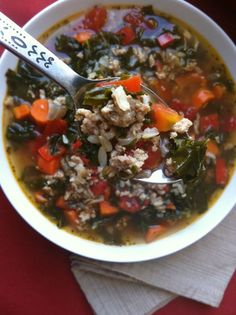 Turkey Kale and Brown Rice Soup: a flavorful soup that uses vegetables, kale, ground turkey and brown rice to make a satisfying, healthy meal // A Cedar Spoon