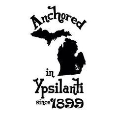 Alpha Sigma Tau Anchored in Ypsilanti shirt.