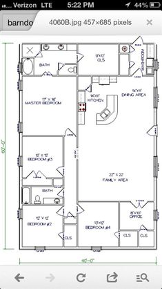Barn House - workable floor plan...Add huge garage/shop to end where washroom is...Open up the one bedroom at end of family room to make it a playroom..I've always kinda wanted a barn house IF/when we build... by bertha