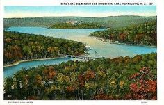 Lake Hopatcong New Jersey NJ 1920s Aerial Lake View Antique Vintage Postcard