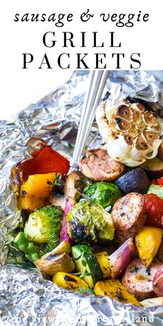 Sausage and Veggie Grill Packets ~ here's an easy idea for lazy summer nights.pile your sausage and cut veggies onto a sheet of foil, wrap it up, and throw it on the grill ~ dinner'll be ready in 30 minutes! Healthy Grilled Chicken Recipes, Healthy Grilling Recipes, Grilled Veggies, Grilled Foil Packets, Foil Packet Dinners, Veggie Sausage, Grilling Sides, Best Seafood Recipes, Dinner Dishes