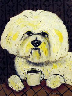 BIchon frise at the coffee shop Picture dog art on Canvas Print   Love this!