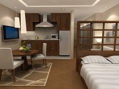 Studio apartment « Studio Apartments,     bookshelf bed is a fantastic room divider