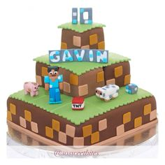 Mine craft birthday cake. For recipes, idea & more follow @sosweetbites on Instagram!