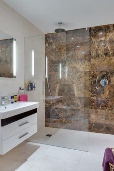 Marron Polished Marble feature wall