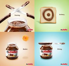 Sports I could enjoy. Poster Ads, Advertising Poster, Nutella, Brand Campaign, Ads Creative, Perfect Food, Archery, Journals, Tasty