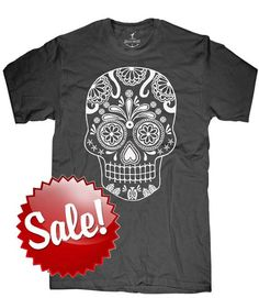 Mens Day of the Dead t shirt Skull  Multiple color by skipnwhistle, $12.00