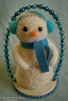 Blue Snowgirl snowman by MykoBocekStudios on Etsy Cottage Christmas, Shabby Chic Christmas, Vintage Christmas Ornaments, Felt Christmas, Christmas Snowman, Christmas Holidays, Christmas Decorations, Snowman Wreath, Snowman Crafts