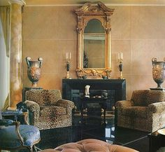 Interior Design by late Kalef Alaton, California Decor Interior Design, Interior Decorating, Leopard Chair, Elegant Living Room, Faux Painting, English Style, Elegant Homes, Architectural Digest, Timeless Design