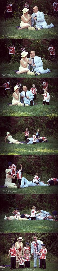 A couple was having a Halloween picnic when suddenly.... A great idea for a family portrait.