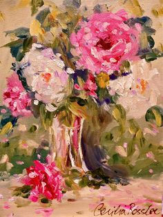 shabby chic roses ~ oil on canvas