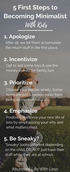 Becoming a minimalist with kids is intimidating. They come with a lot of stuff. Here are 5 Important First Steps When Implementing Minimalism With Kids | Minimalist Mom | Declutter your home | Home organization | #minimalism #minimalistfamily #experiencesoverthings #declutteryourhome #simpleliving