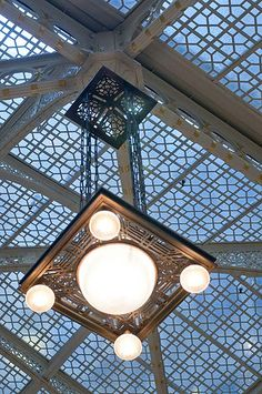 Frank Lloyd Wright light fixture in The Rookery