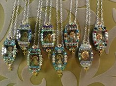 Iconic micro-mosaics inside 1920's wristwatch cases by Tracey Davis