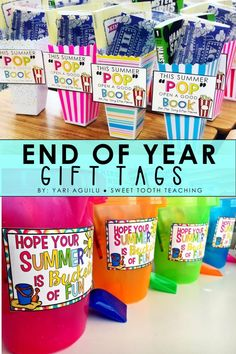 Surprise your students during the last week of school with some sweet End of Year & Summer treats! Simply print and attach the gift tags to your EOY presents. Includes 4 different summer tags.