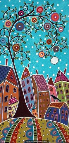 Colorful abstract town/village scene.