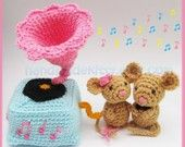 Mouse Couple playing with Gramophone Amigurumi PDF Crochet Pattern. $4.99, via Etsy.