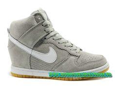 Nike Wmns Dunk Sky Hi GS Chaussures Nike Pas Cher Pour Femme Gris/Blanc