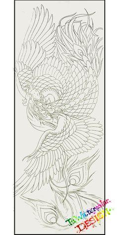 mẫu hình xăm được thiết kế bởi Artist Tú Watercolor Japanese Phoenix Tattoo, Small Phoenix Tattoos, Japanese Flower Tattoo, Phoenix Tattoo Design, Japanese Tattoo Designs, Koi Tattoo Sleeve, Nature Tattoo Sleeve, Koi Dragon Tattoo, Black And White Flower Tattoo
