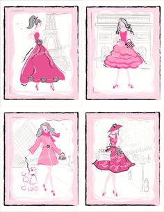 Fashion Paris Art Print Set For Girls by sweetpeasartstudio2, $21.99
