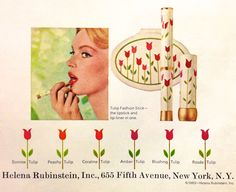 Helena Rubinstein 'Tulip' Fashion Stick, Lipstick & Powder Compact Ad -detail, 1965