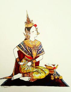 """Rochana"", 1977, watercolor on paper, by a Thai national artist Chakrabhand Posayakrit"