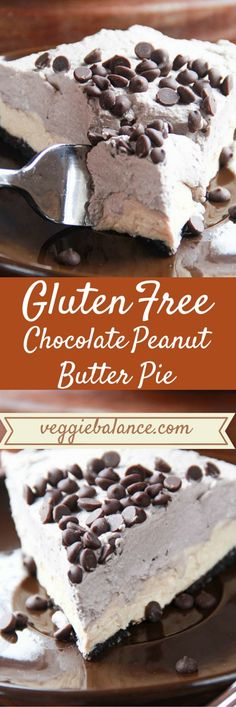 Gluten Free Peanut Butter Pie | The best healthy no-bake peanut butter pie all made with simple ingredients and low-sugar, gluten-free. | http://www.VeggieBalance.com/gluten-free-peanut-butter-pie/