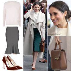 Meghan Markle Style! Coat: Mackage ($750); Sweater: Victoria Beckham; Skirt: Greta Constantine; Shoes: Jimmy Choo ($595); Bag: Charlotte Elizabeth (£175) . Do you like her outfit? #britishroyalfamily #britishroyals #meghanmarkle #instaroyals #instafashion #meghanmarklestyle #royalstyle #royaladdicted2fashion