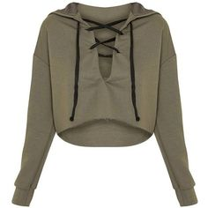 Saige Khaki Lace Up Cropped Hoodie (€5,95) ❤ liked on Polyvore featuring tops, hoodies, shirts, sweaters, crop top, shirt hoodies, laced up shirt, brown hooded sweatshirt, lace up shirt and crop shirt