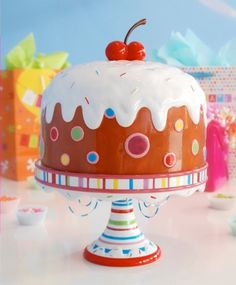 Colorful musical cake stand plays Happy Birthday Cake Stands