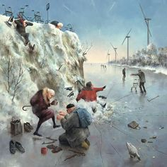 I'd call this Seniors' Skating Party -- Marius van Dokkum, Dutch Artist and Illustrator Art And Illustration, Illustrations, Vive Le Vent, Dutch Painters, Dutch Artists, Norman Rockwell, Naive Art, Funny Art, Pablo Picasso