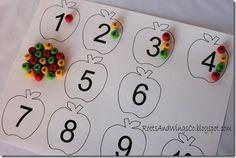 10 Super Fun Fall Crafts- For Kids {Roundup} Preschool Math, Math Classroom, Kindergarten Math, Teaching Math, Teaching Numbers, Fall Preschool, Math Numbers, Apple Activities, Autumn Activities