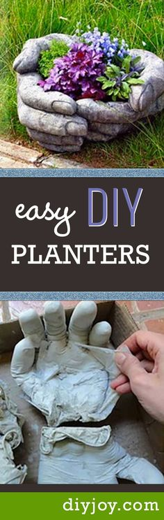 Easy DIY Planters for Cool Do It Yourself Gardening Idea - Concrete Pots In Hand Shade Are Super Creative Project