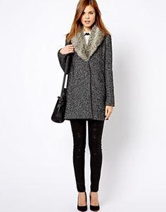 Image 4 ofWarehouse Tweed Faux Fur Collar Coat