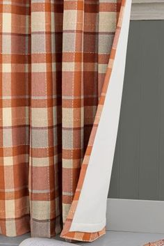 Ginger Rustic Woven Check Eyelet Curtains With Thermal Lining Living Room
