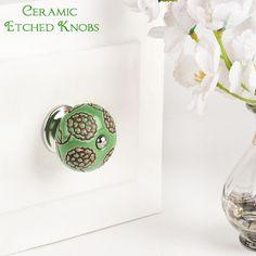 Online ceramic handmade etched green knob. For more designer collections visit our website. Kitchen Pulls, Kitchen Hardware, Cabinet Hardware, Ceramic Knobs, Modern Cabinets, Handmade Ceramic, Dressers, Wardrobes, Designer
