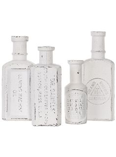 Antique Apothecary Iron Bottles Set