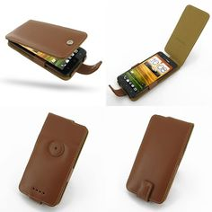PDair Leather Case for HTC Droid DNA ADR6435 (Verizon) - Flip Type (Brown)