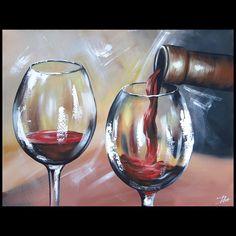 Wijnfles met glas